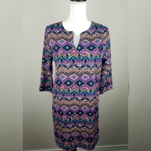 Everly Notched Neck Tribal Boho Shift Dress Medium